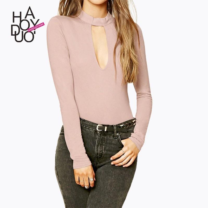Свадьба - 2017 winter women's wear new fashion personality hollow solid color base t shirt - Bonny YZOZO Boutique Store