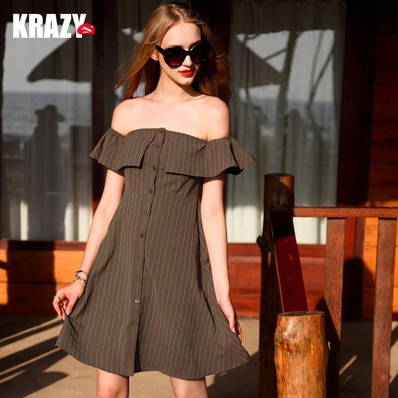 زفاف - Simple Off-the-Shoulder Trail Dress Horizontal Stripped Dark Color Low Key Frilled Dress - Bonny YZOZO Boutique Store