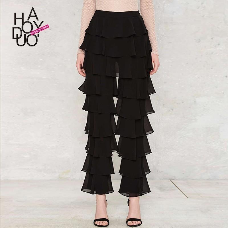 زفاف - Vogue Slimming Multi Layered One Color Spring Frilled Casual Trouser - Bonny YZOZO Boutique Store