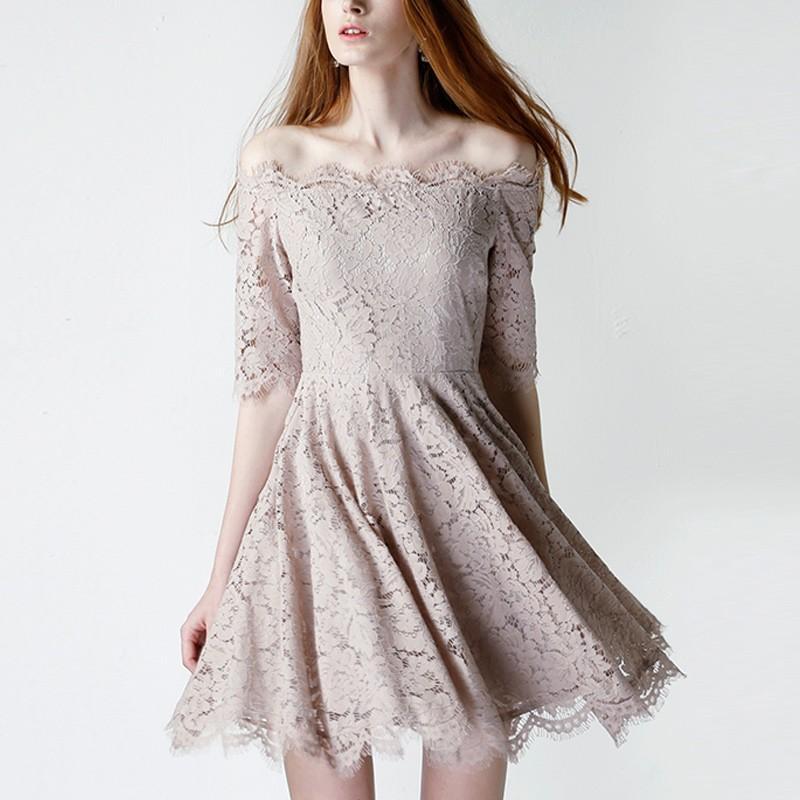 Wedding - Vogue Hollow Out Bateau Off-the-Shoulder Lace Formal Wear Dress Skirt - Bonny YZOZO Boutique Store