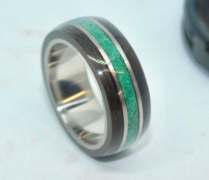 Mariage - Wooden Rings - Titanium Wooden Rings - Bentwood Ebony Malachite Inlay Rings - Mens Wood Rings, Womens Wood Rings, Wood Engagement Rings,