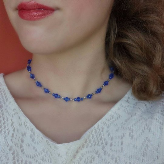 Mariage - Blue Beaded Choker, Seed Bead Choker, Blue Choker, Blue Necklace, Rhinestone Choker, Blue Beaded Necklace, delicate bead choker, crystal