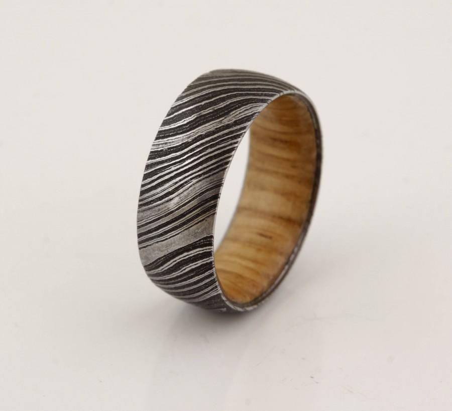 زفاف - wood ring DAMASCUS steel ring wood wedding band man ring WHISKEY whisky BARREL wood bourbon barrel ring
