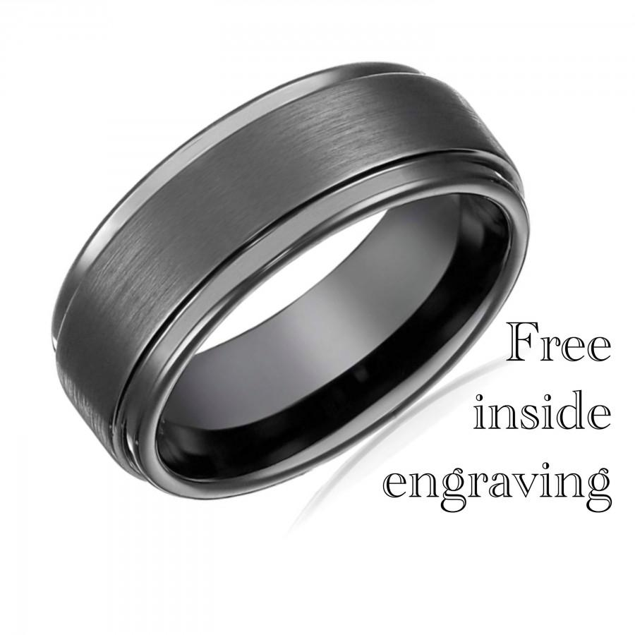 Свадьба - Mens Wedding Band Black Wedding Ring Tungsten Ring Engagement Ring Promise Ring Personalized Gift for Her Gifts for Him Gun Metal Ring - 8mm