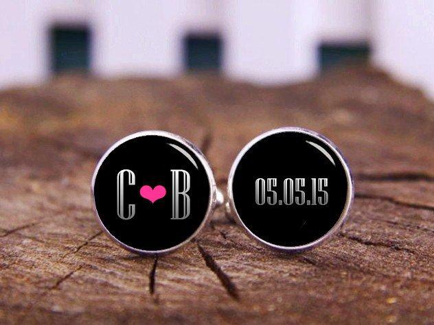 Wedding - Monogram Cuff Links, 1920s Annulus Style, Custom Any Wording, Photo, Wedding Cufflinks, Groom Cuff Links, Personalized Cufflinks, Men's Gift