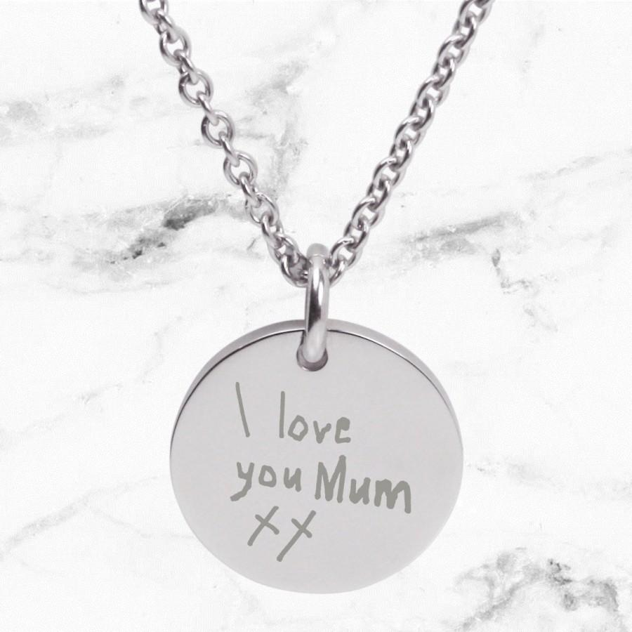 Wedding - Engraved SILVER pendant necklace for Mum with a a handwritten note - Perfect personalized gift for Mother's Day, custom engraving