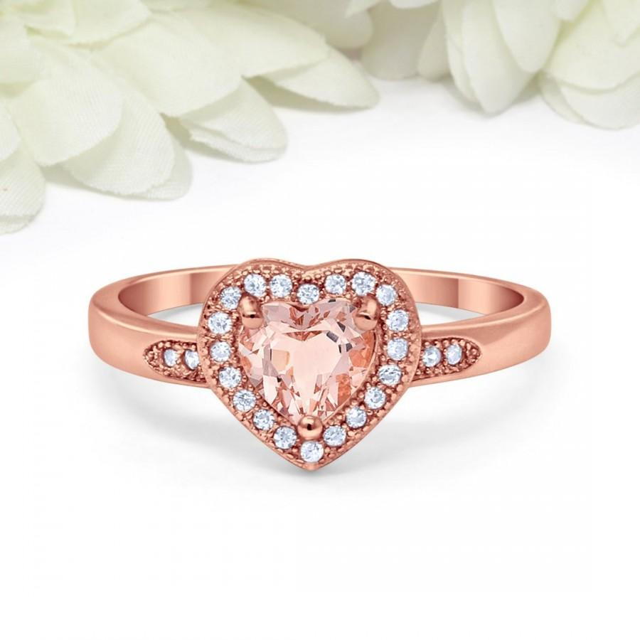 زفاف - Rose Gold 925 Sterling Silver Halo Heart Promise Ring Heart Morganite Round Simulated Diamond CZ