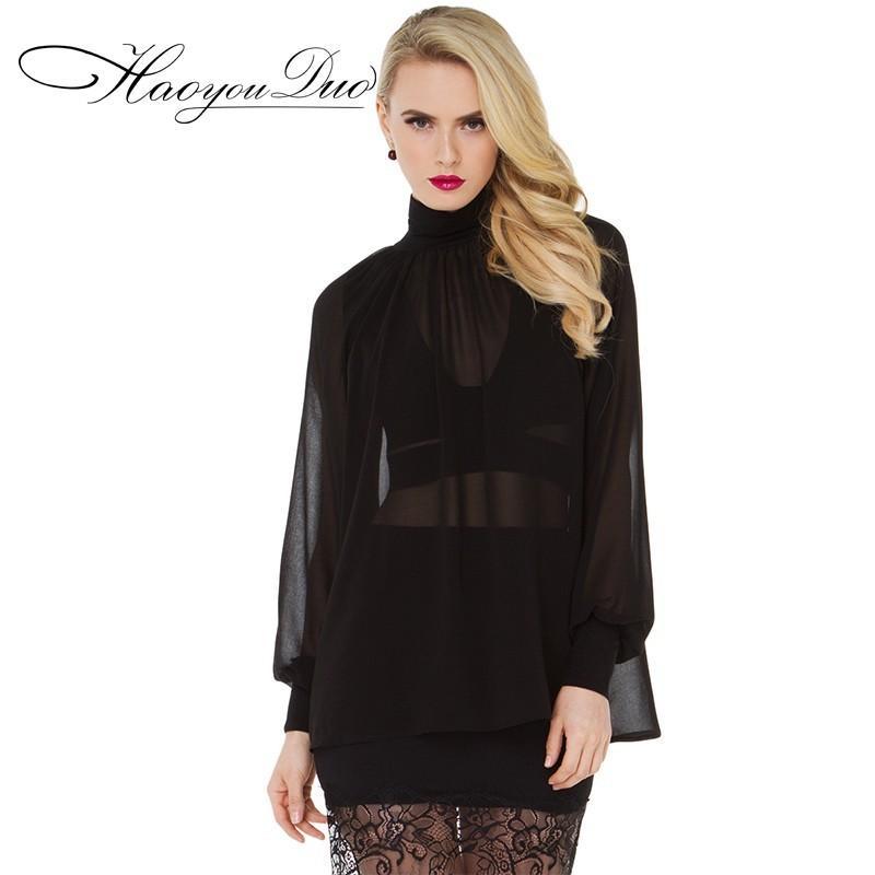 زفاف - Office Wear Attractive High Cut Bishop Sleeves High Neck Chiffon Top - Bonny YZOZO Boutique Store
