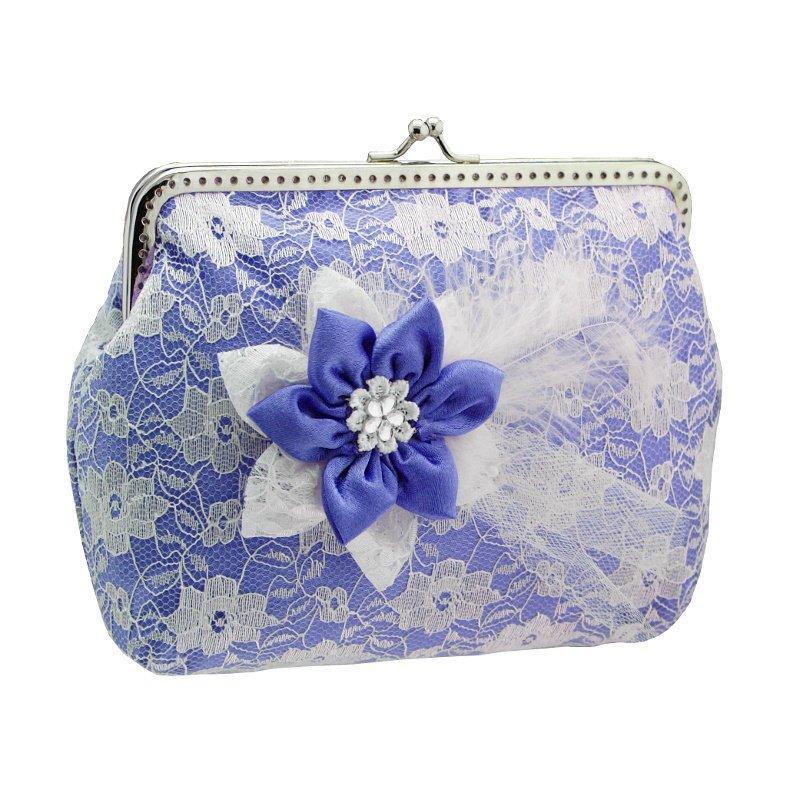 Свадьба - blue purse blue clutch bridal bag wedding clutch bag evening clutch bag formal clutch chain satin lace flower bride wedding blue white 1615