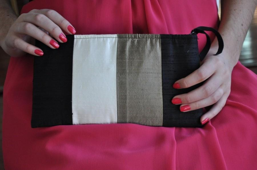 Mariage - Clutch - The Amy Clutch - Black, Bronze and Ivory color blocked, evening formal wear bag, mother of bride or groom purse