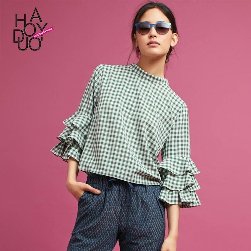 Mariage - Vogue Frilled Sleeves High Neck Lattice Fall Casual Blouse - Bonny YZOZO Boutique Store