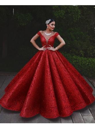 Wedding - Mordene Rote Abendkleider Lang Günstig A Linie Spitze Abendmoden Online Modellnummer: XY261