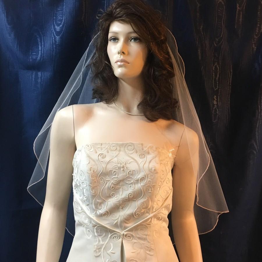Свадьба - Rose Gold pencil edge Fingertip length Angel Cut Bridal Veil