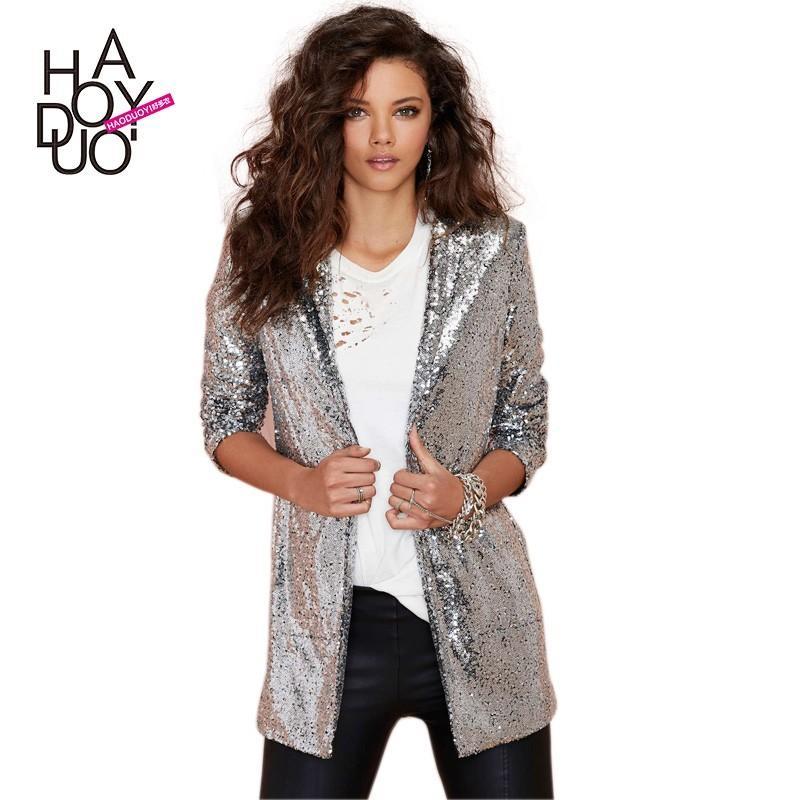 زفاف - Office Wear Sequined Cardigan Suit Coat - Bonny YZOZO Boutique Store