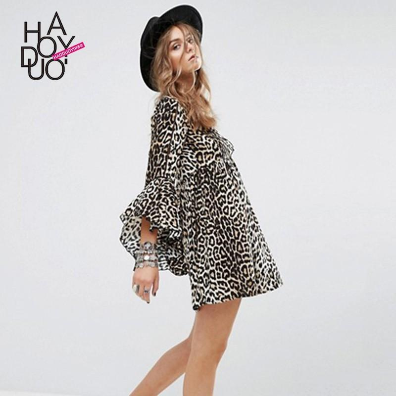 Свадьба - Vogue Sexy Hollow Out Flare Sleeves Leopard Fall Tie Dress - Bonny YZOZO Boutique Store