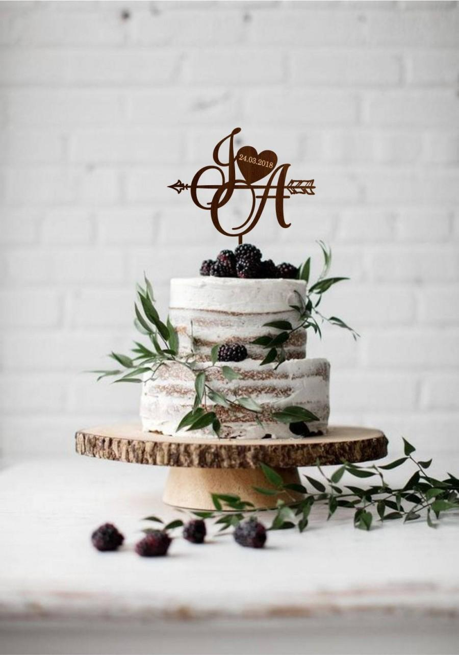 Свадьба - Personalised two initials with heart, Cake topper wedding date, Two letters cake topper, Rustic monogram, Gold initial topper, Boho wedding