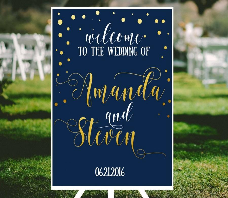 Свадьба - Navy wedding welcome sign Navy and gold confetti personalized wedding  Fairytale wedding sign blue DIY Shower welcome sign printables