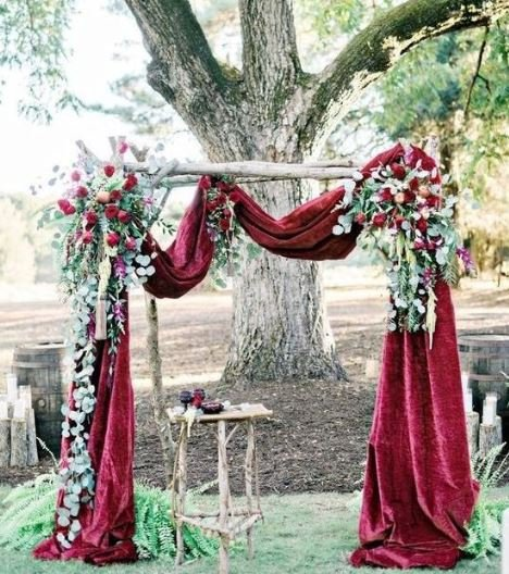 Свадьба - Crushed Velvet Wedding Arch Scarf! Choose your Size and Color! Match with Velvet Aisle Runner or Tablecloth ! We do Custom  Sizes!