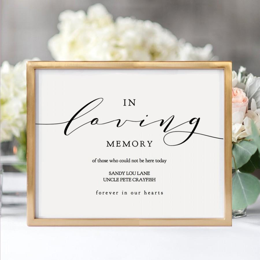 "Mariage - In Loving Memory Printable Sign, Printable In Loving Memory, 8x10"" and 5x7"" printable wedding sign, ""Wedding"" Edit in ACROBAT"