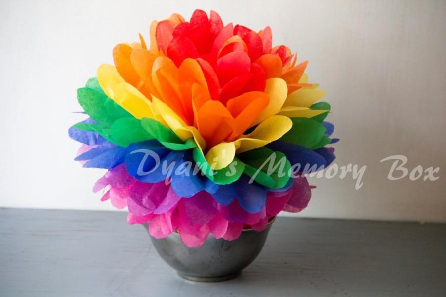 Свадьба - Set of 12 Rainbow Handmade Tissue Paper Pom Poms Wedding Nursery Birthday Party table Decoration
