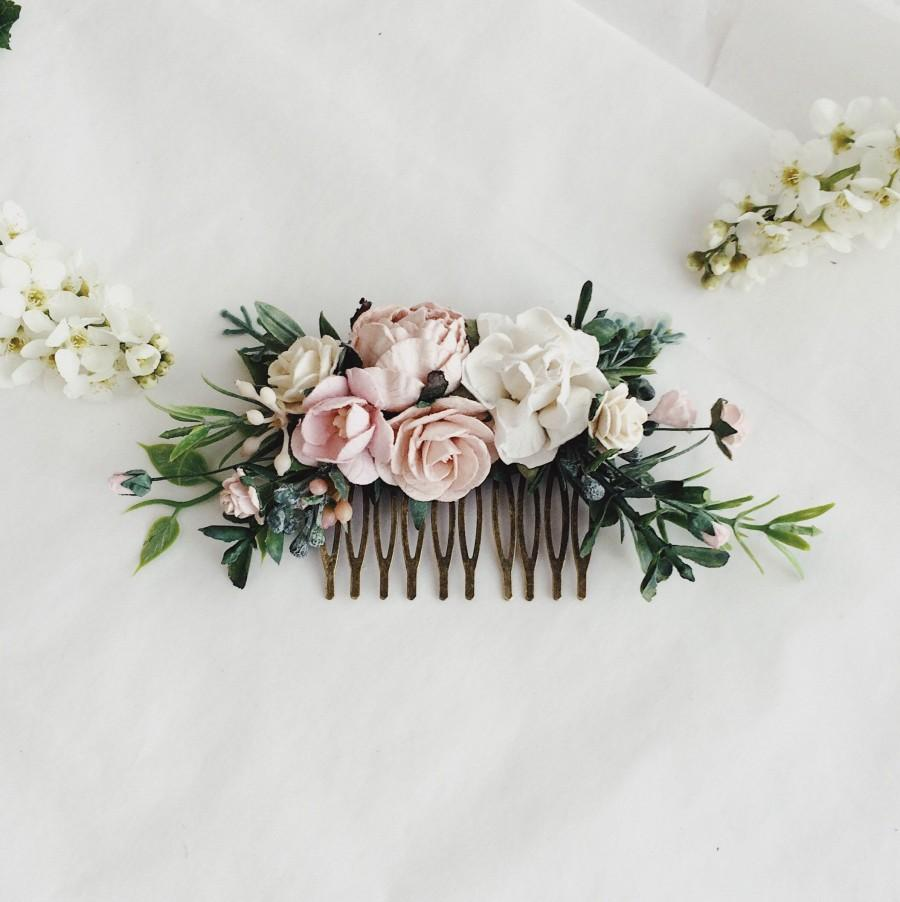 Blush And Greenery Wedding Hair Piece Blush Flower Hair Clip