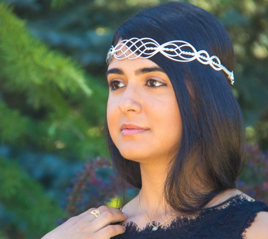 Mariage - ROWAN Celtic Circlet Hand Wire Wrapped - Choose Your Own COLORS - Crown Tiara headband Wedding Bridal