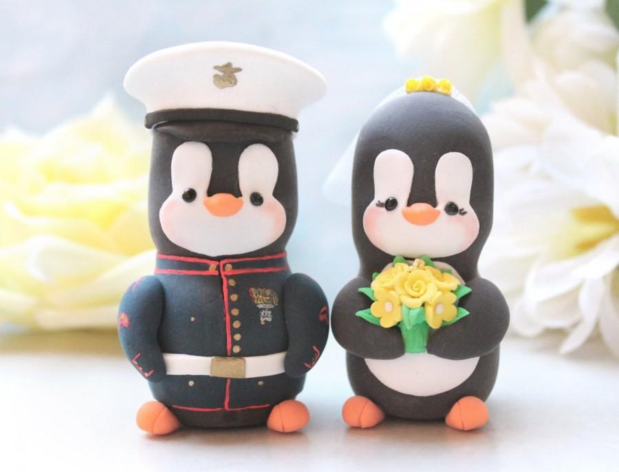 Свадьба - Wedding cake toppers Military Penguins - US Marine dress blue jacket - with hat - job work profession bride groom figurines yellow red gold