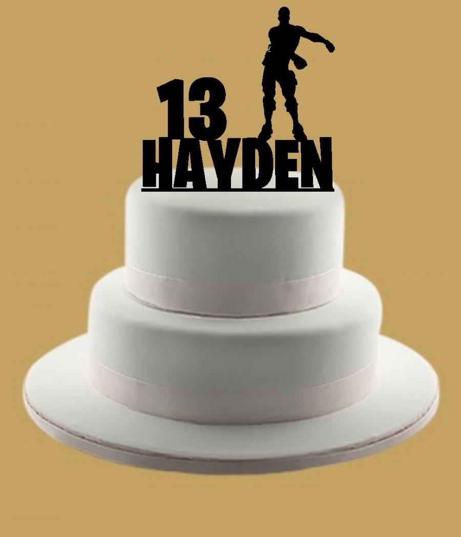 Fortnite Inspired Floss Cake Topper Custom Birthday Name Personalized