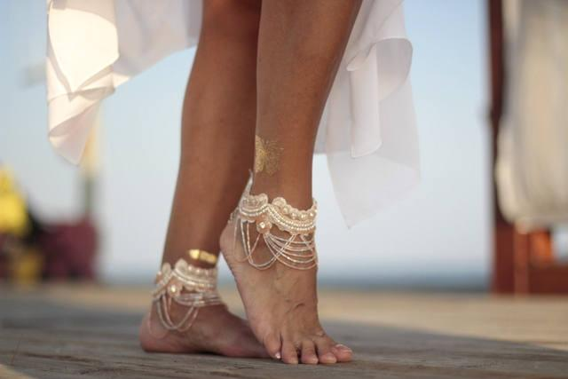 Hochzeit - Blush  Fairy crystal beach wedding barefoot sandals, bangle,cuff, wedding anklet,barefoot sandal,ankle cuff,boho sandal