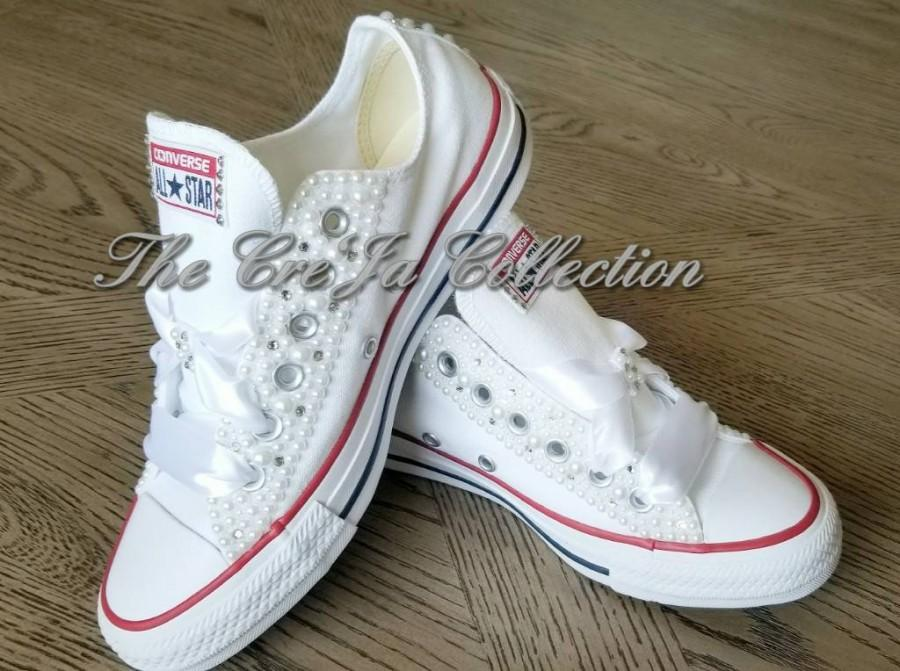 زفاف - Wedding Converse,Wedding White Pearl Converse, Pearl All Star Chuck Taylor Sneakers, White Bridal Converse, White Pearl Chucks, Wedding flat