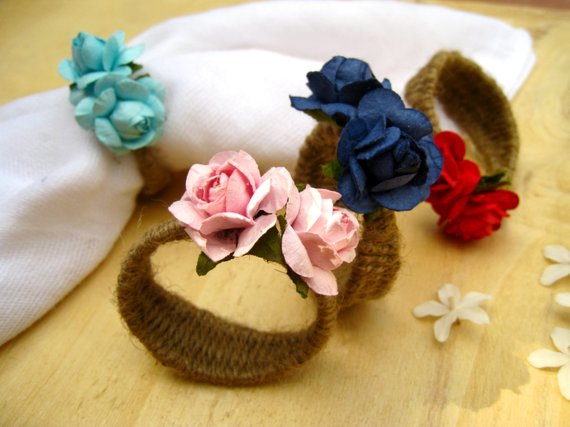 Wedding - Rose Napkin Rings Rustic Cottage Chic Holiday Dinner Wedding Accessories Place Setting