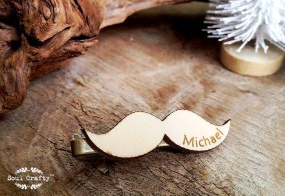 Hochzeit - Moustache Wooden Tie Clips Mustache Mustachio Mustachios Dad Grooms Bestman Groomsman Wedding Birthday Personalized Gift Tie Bar