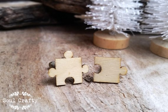 Wedding - Jigsaw Puzzle Wooden Cufflinks puzzle pieces Boy friend Dad Grooms Best man Groomsman Rustic Wedding Birthday Gift Cuff links