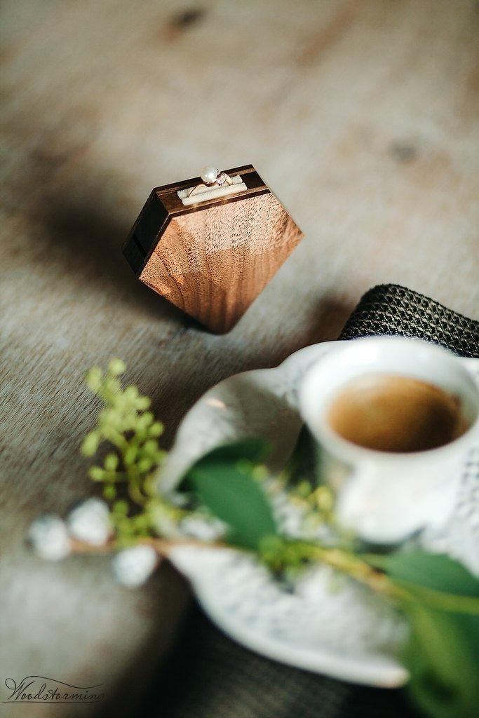 Wedding - Diamond shape walnut wood ring box by Woodstorming - MADE TO ORDER