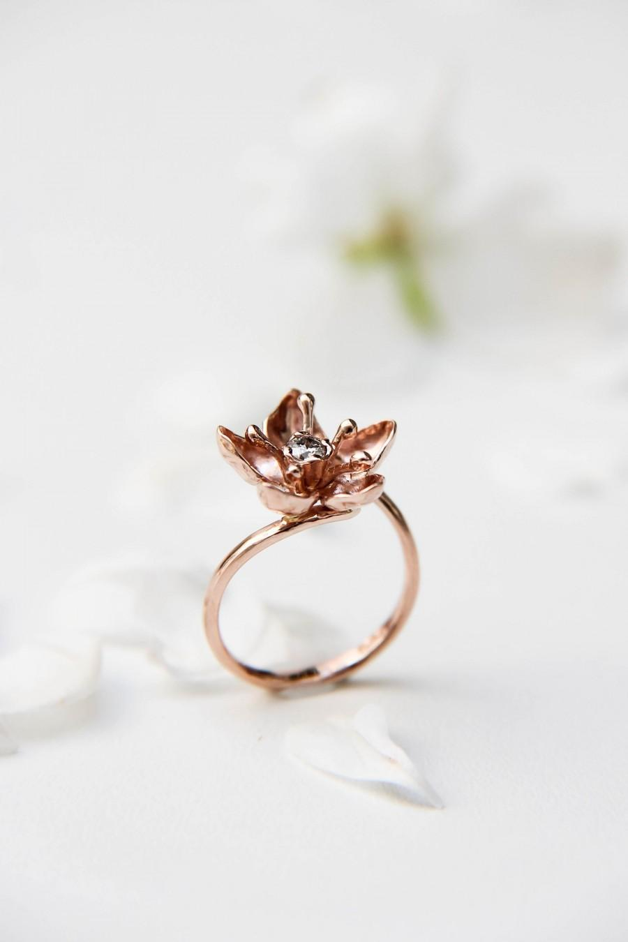 Mariage - Apple blossom rose gold ring for engagement, Unique diamond ring, Flower women ring, Proposal delicate ring, Romantic love ring gift