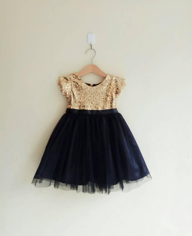 e58d03d7c1 Flower Girl Dress Gold And Black With Sleeves