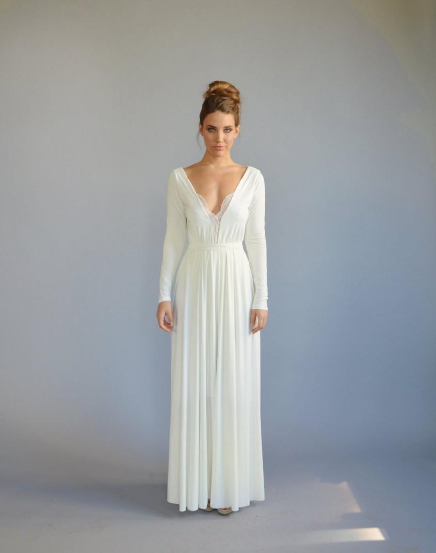 13d6297da1 Simple wedding dress, lace wedding dress, long sleeves wedding dress, open  back wedding dress, lace cleavage, casual wedding dress