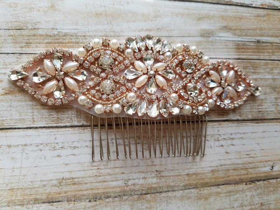 Свадьба - Wedding Hair Comb - Rhinestone with Rose Gold Details - Style H17060