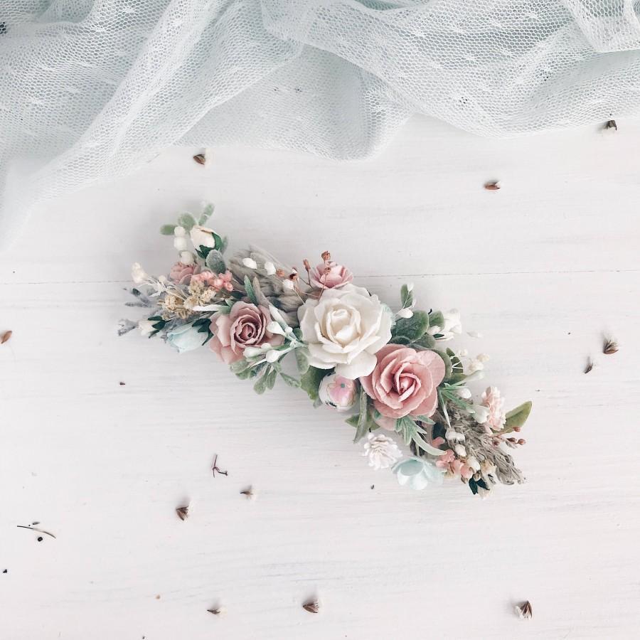 Свадьба - Flower hair piece, Blush hair clip, Turquoise bridal headpiece, Watercolors flower hair piece, Blush hair clip, Bridal hairpiece