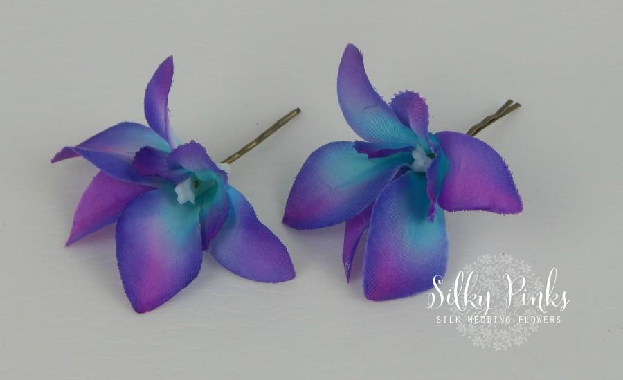 Mariage - Flower Hair Pins, Purple/Blue Dunrobium Orchid Hair Accessories, Wedding Hair Flowers, Beach Wedding,Hair Flowers,  Wedding Accessories
