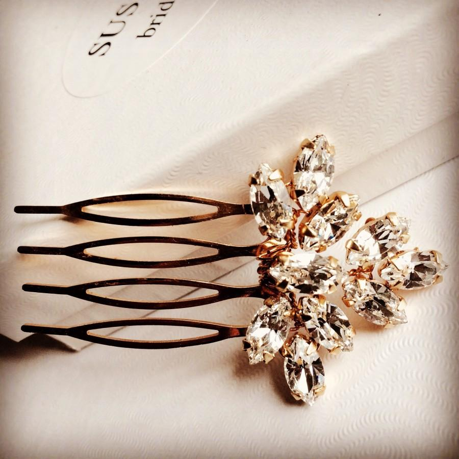 Mariage - Gold /Rose gold / Silver/ Bridal mini hair comb made with Swarovski rhinestones. Wedding hair accessory, headpiece bridesmaid bride hair