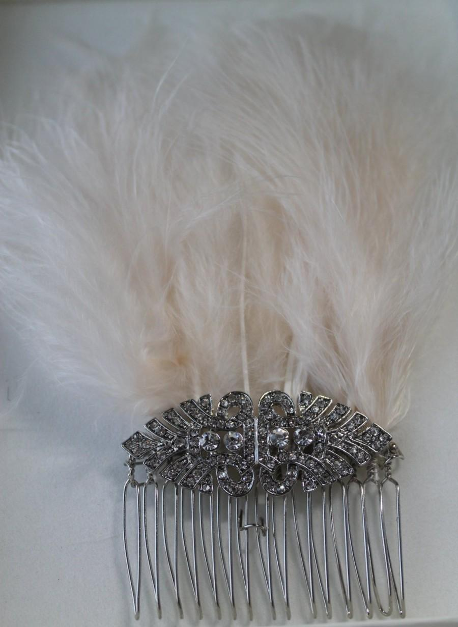 Hochzeit - Gatsby Inspired Diamanté and Feathers Hair Comb