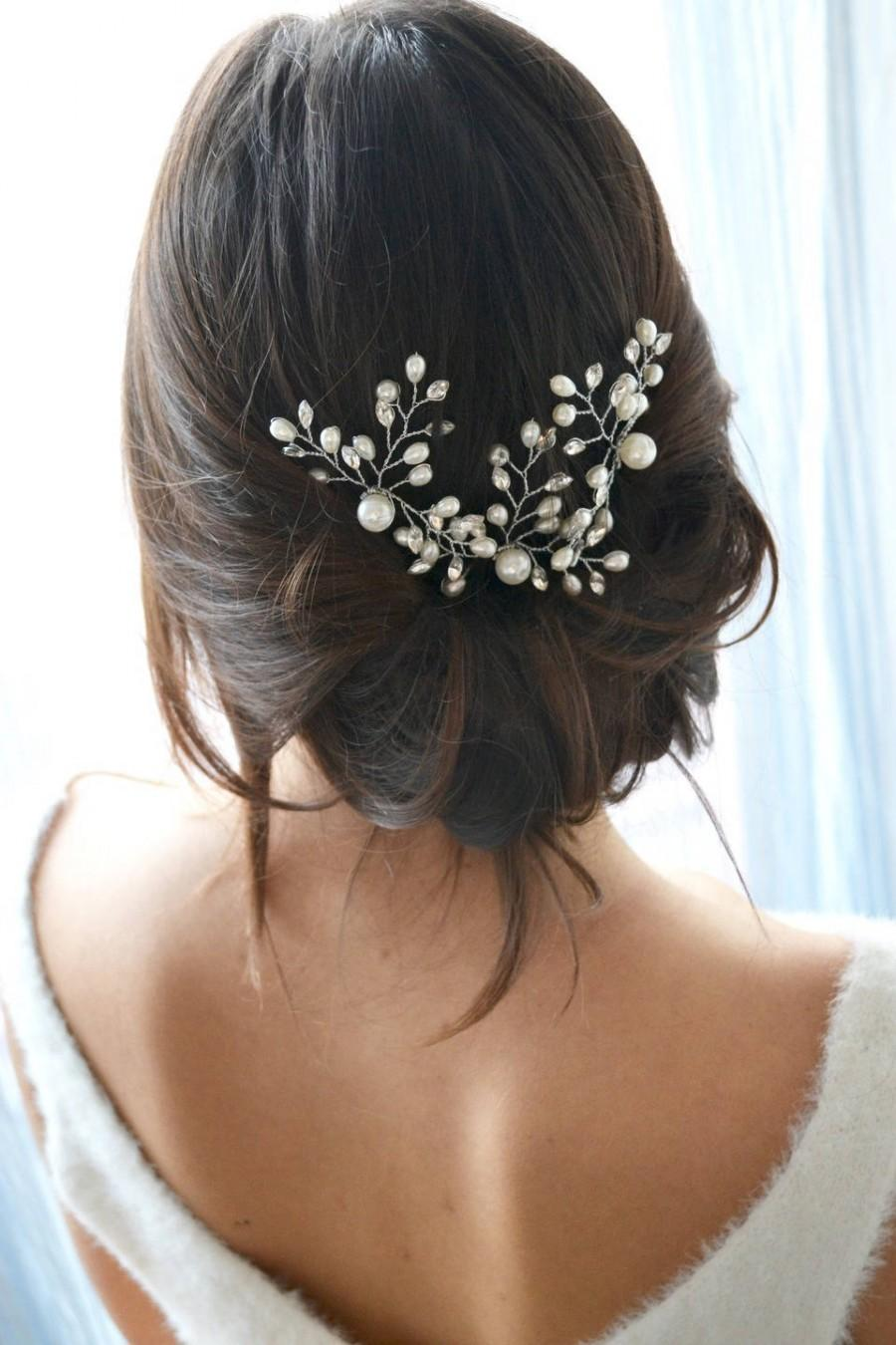 Mariage - White bridal headband. Hair comb, pearls and crystals pin stick. Delicate Bridal, Bohemian, romantic hair accessory.