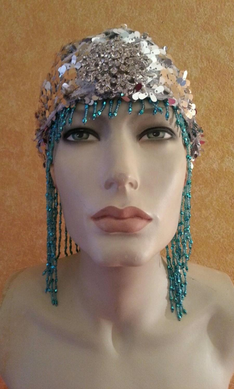 Mariage - Gatsby Goddess 20's Flapper Vintage Style Ocean Turquoise Silver Sequin Bead Crystal Rhinesone Brooch Bridal Headpiece Wedding Party Costume