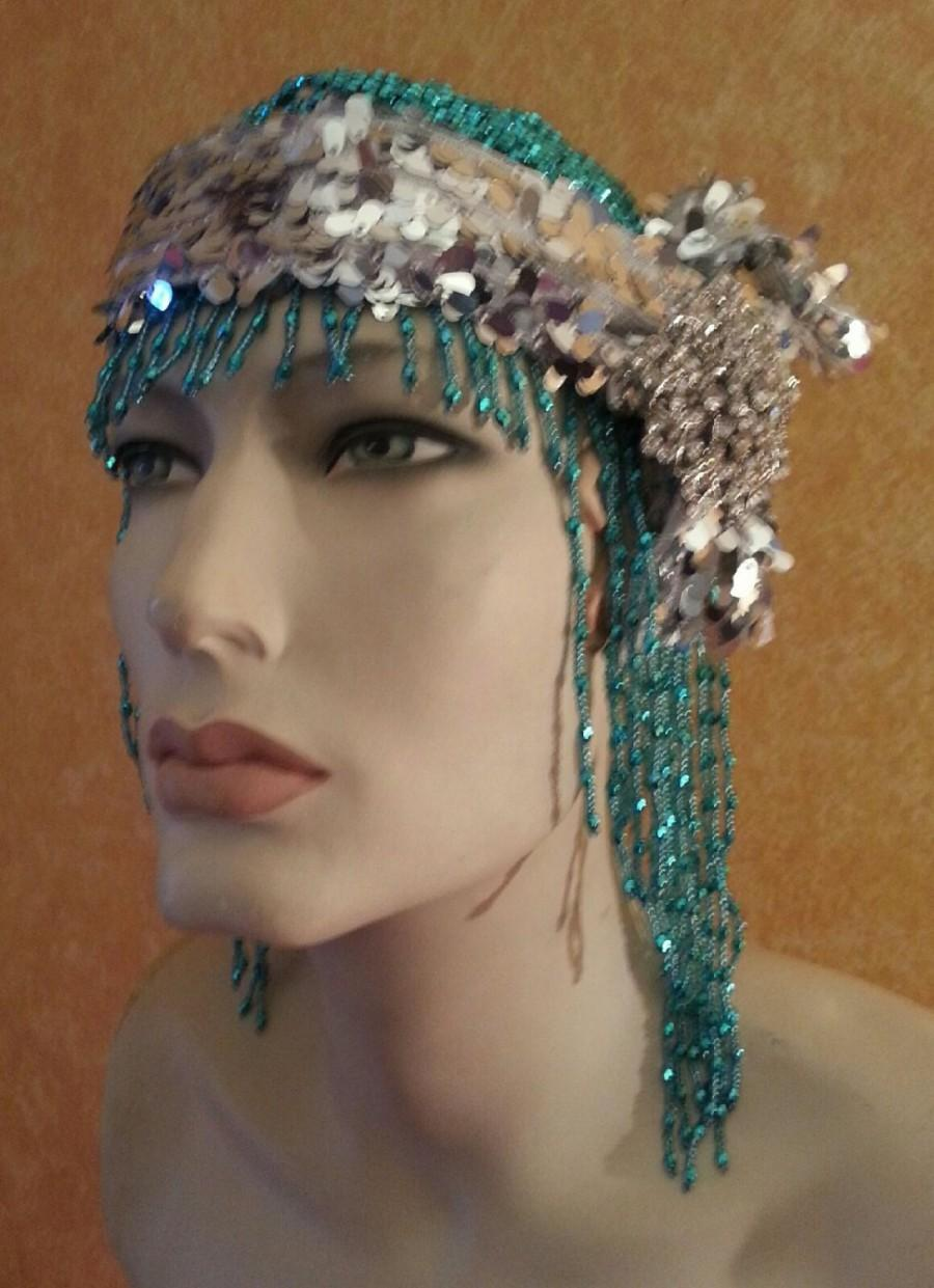 Hochzeit - Gatsby Goddess 20's Flapper Vintage Style Ocean Blue Silver Sequin Bead Crystal Rhinesone Brooch Bridal Headpiece Wedding Party Costume