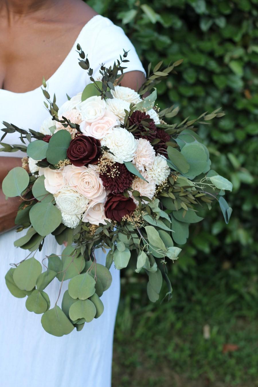 Wedding - Sola flower bouquet,blush and marsala,wine sola wood flowers,wedding bouquet eco flowers,alternative keepsake bouquet,burgundy sola flowers