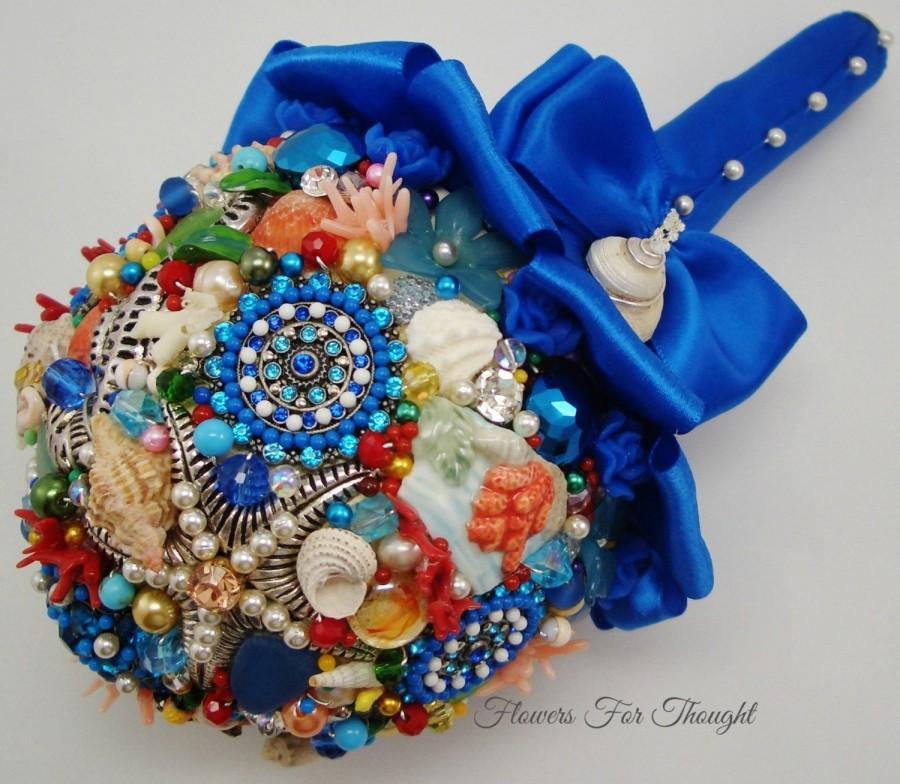 Wedding - Beach Wedding Bouquet, Seashell Nautical Bridal Posy with Freshwater Pearls