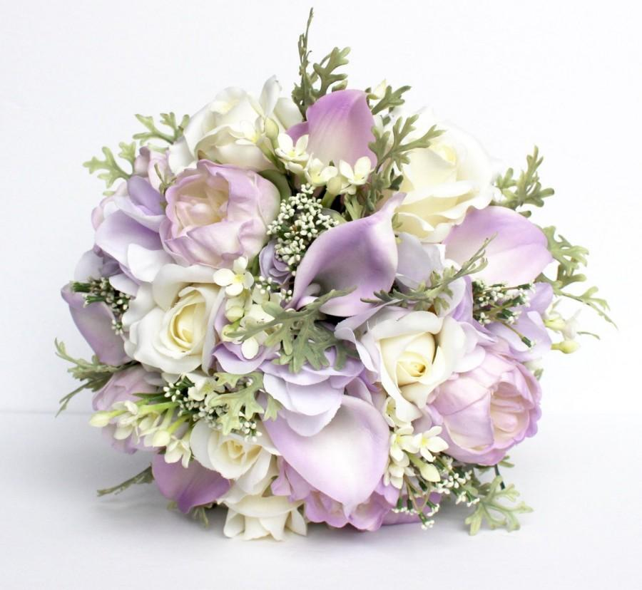 Wedding - LAVENDER WEDDING BOUQUET- lavender Wedding Bridal Bouquet , Purple Real to Touch Peonies Bridal Bouquet, Purple, Ivory and mint bouquet