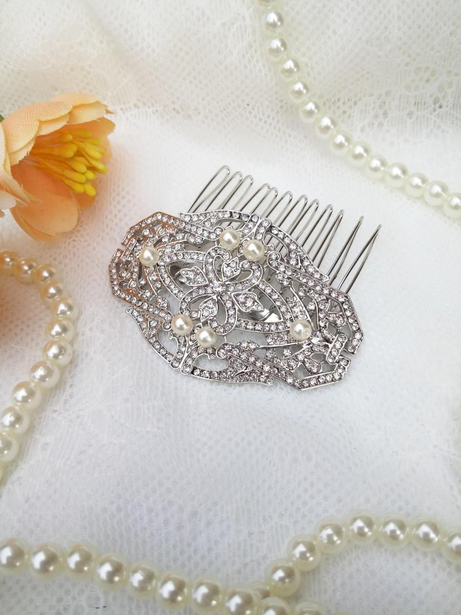 Mariage - Silver crystal Hair Comb pearls Wedding Vintage styled hair clip Bridesmaids hair clip Small bridal comb Art Deco 20's 30's  SALE 51