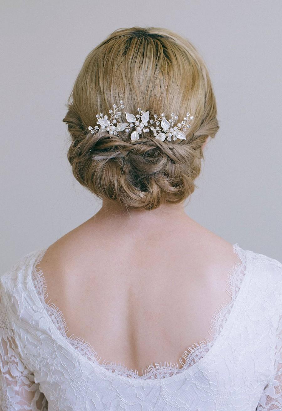 Hochzeit - Bridal hair pin, Leaf hair pin, Gold hair pin, Gold or Silver hair vine, Gold bridal headpiece, Bridesmaid hair pins